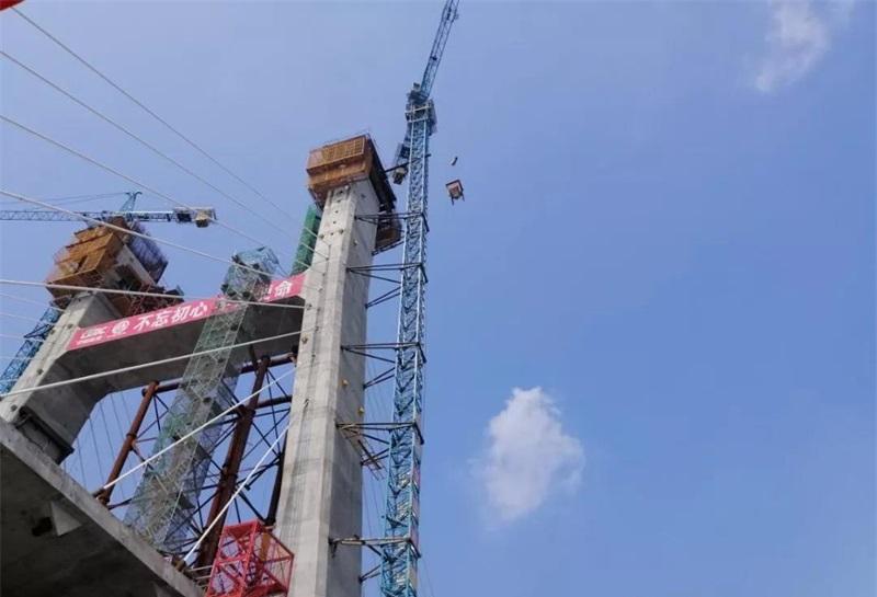 最新进展!南四湖特大桥主塔南侧塔柱开始封顶浇筑