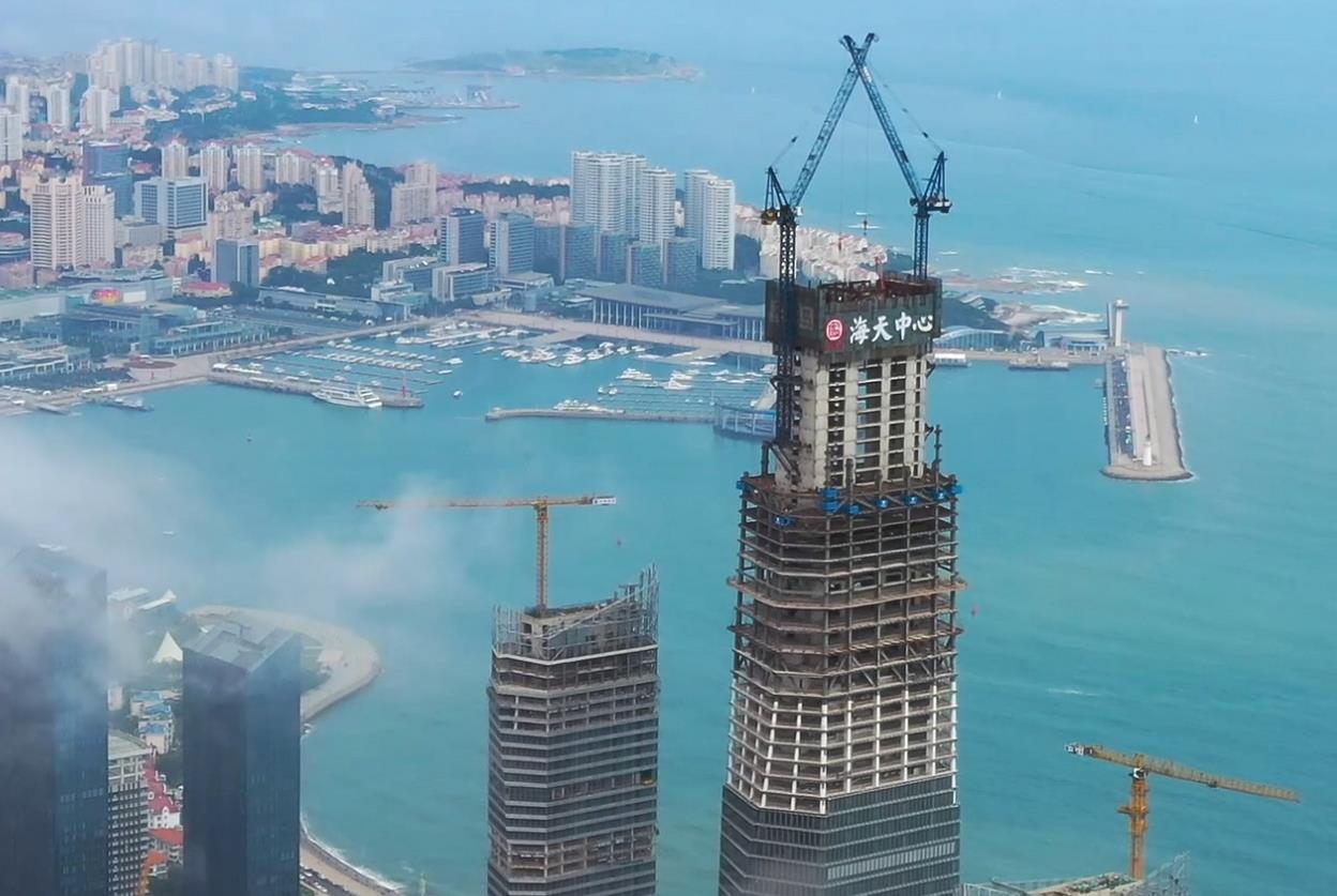 369米!新晋山东第一高,青岛海天中心主塔楼核心筒圆满封顶