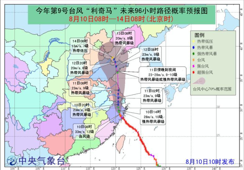 """中央气象台发布台风黄色预警 """"利奇马""""将致山东中西部大暴雨"""