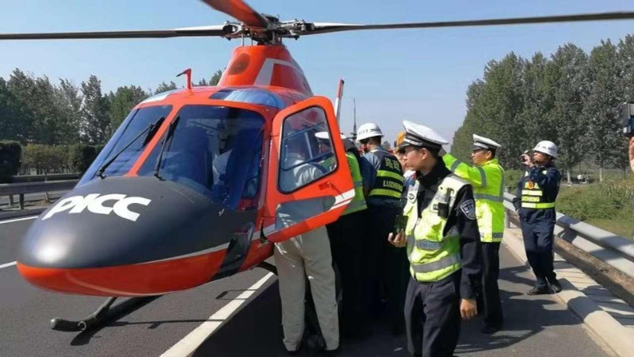 37秒丨与时间赛跑抢救生命!菏泽高速交警用救援直升机运送伤员