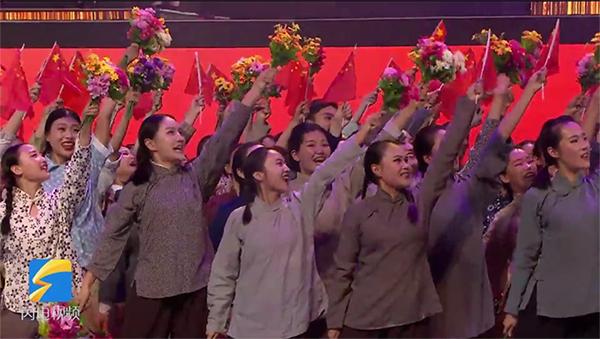 """【""""五星红旗迎风飘扬""""文艺演出】激情澎湃!《没有共产党就没有新中国》燃爆全场"""