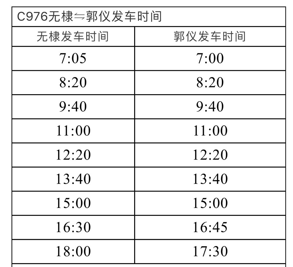 扩散!C976、C997无棣⇋郭仪、北海新区公交发车时间表公布
