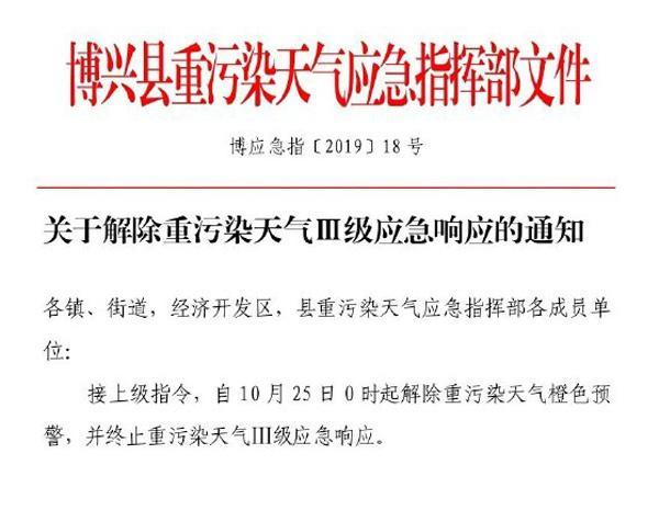 滨州博兴县25日0时起解除重污染