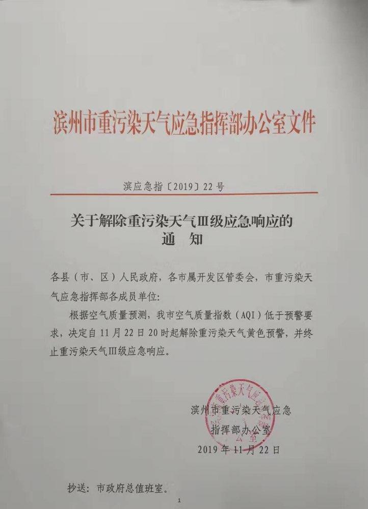 海丽气象吧|滨州市22日20时起将解除重污染天气Ⅲ级应急响应