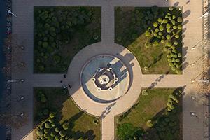 绿植环绕色彩缤纷 航拍聊城大学美丽秋景