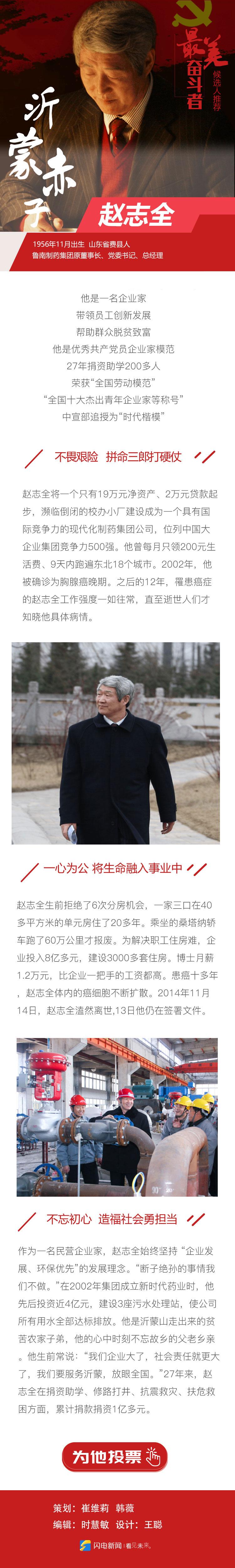 """为""""最美奋斗者""""山东候选人赵志全投票!"""