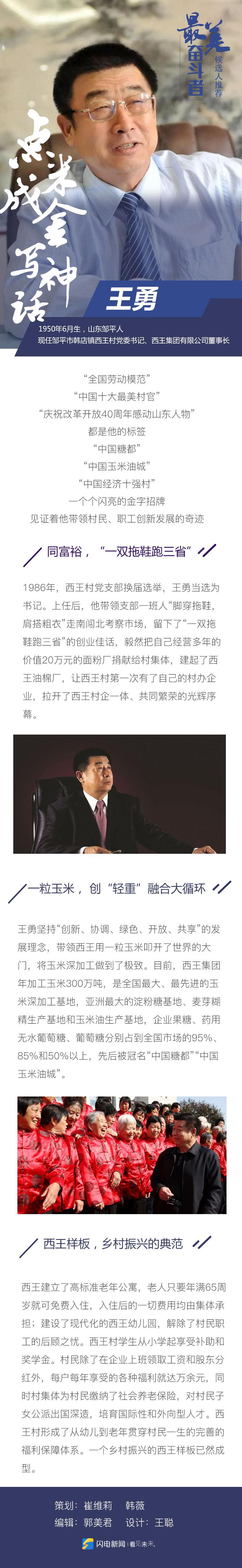 """为""""最美奋斗者""""山东候选人王勇投票"""