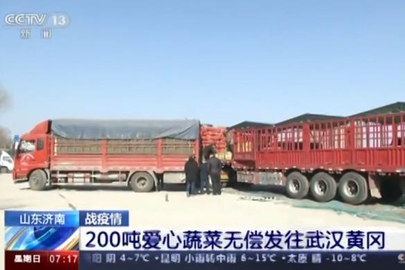 央视《朝闻天下》:山东济南200吨爱心蔬菜无偿发往武汉黄冈