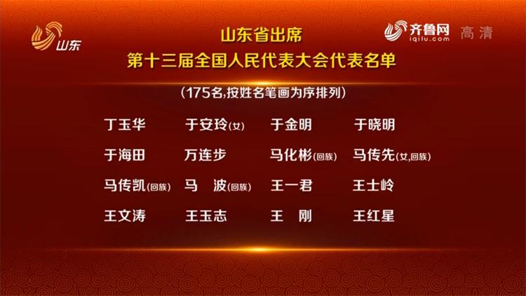 山东省出席第十三届全国人民代表大会175名代表名单