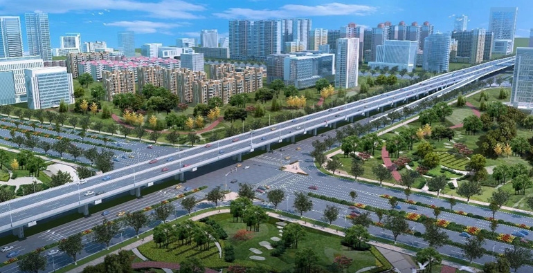 潍坊宝通街快速路正式进场施工!