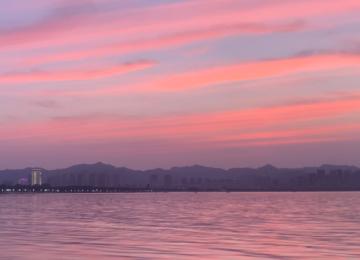 威海玫瑰色晚霞美呆了