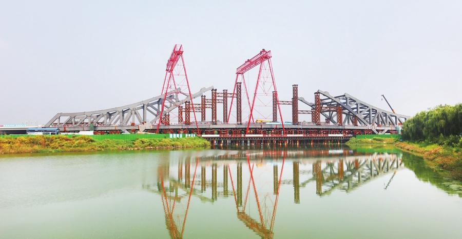 聊城黑龙江路徒骇河大桥安装拱桥