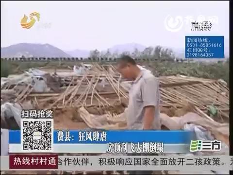费县:狂风肆虐 房顶刮飞大棚倒塌