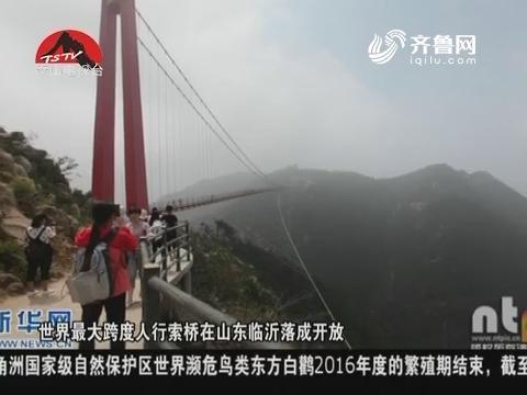 图片新闻:世界最大跨度人行索桥在山东临沂落成开放