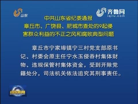 山东省纪委通报章丘市、广饶县、肥城市查处的9起侵害群众利益的不正之风和腐败典型问题