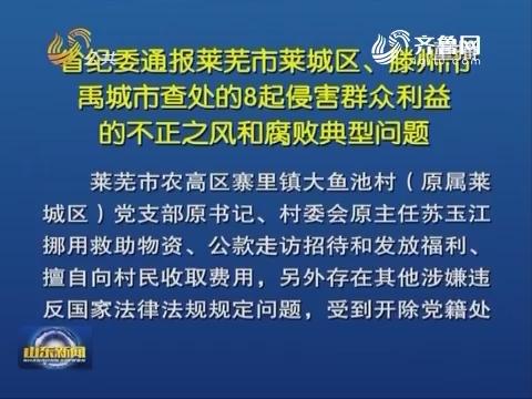 山东省纪委通报莱芜市莱城区、滕州市、禹城市查处的8起侵害群众利益的不正之风和腐败典型问题