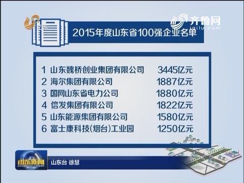山东公布2015百强企业名单 8家企业超千亿