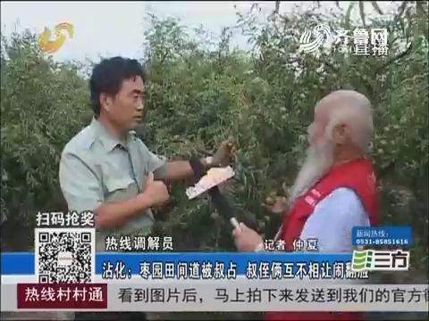 【热线调解员】沾化:枣园田间道被叔占 叔侄俩互不相让闹翻脸