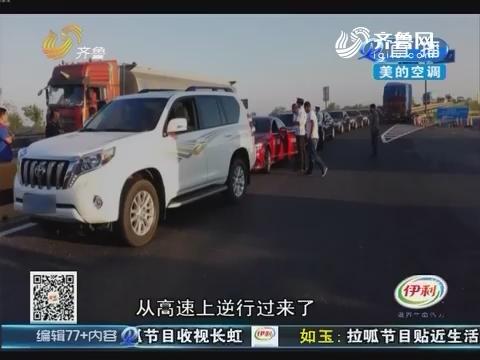 东营:豪华婚车车队 逆行要上高速