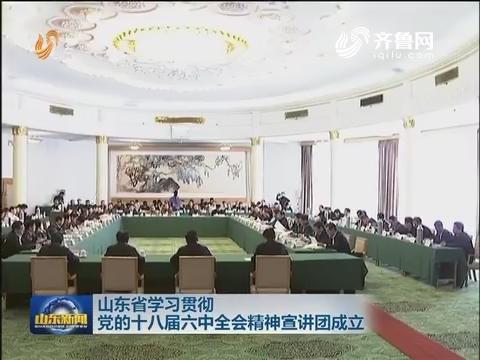 山东省学习贯彻党的十八届六中全会精神宣讲团成立