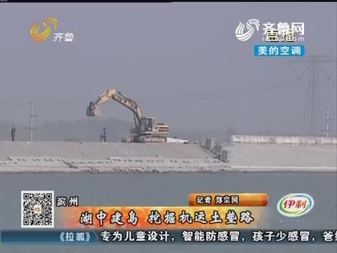 滨州:湖中建岛 挖掘机运土垫路