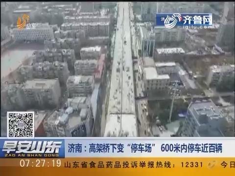 """【停车乱象】济南:高架桥下变 """"停车场""""600米内停车近百辆"""