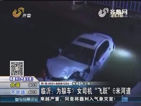 """临沂:为躲车?女司机""""飞跃""""6米河道"""