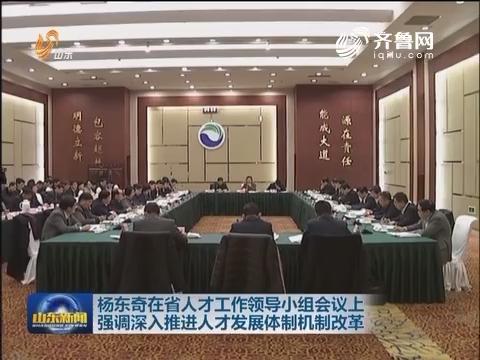杨东奇在省人才工作领导小组会议上强调 深入推进人才发展体制机制改革