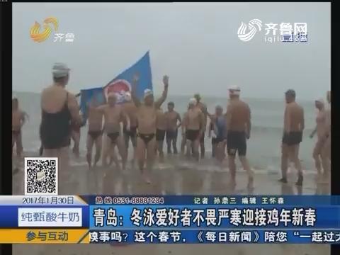 青岛:冬泳爱好者不畏严寒迎接鸡年新春