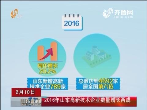 2016年山东高新技术企业数量增长两成