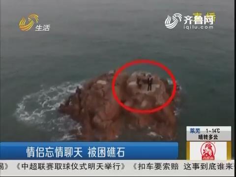 青岛:情侣忘情聊天 被困礁石