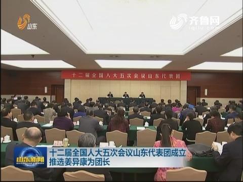 十二届全国人大五次会议山东代表团成立 推选姜异康为团长