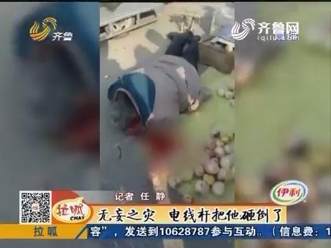 潍坊:无妄之灾 电线杆把他砸倒了