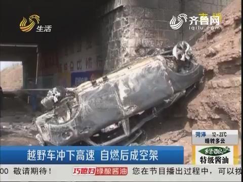 诸城:越野车冲下高速 自燃后成空架