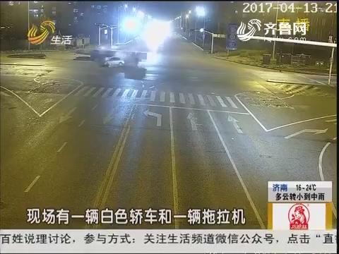 临沂:雷雨天 两车夜间相撞