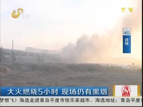 【4G连线】聊城:大火燃烧5小时 现场仍有黑烟
