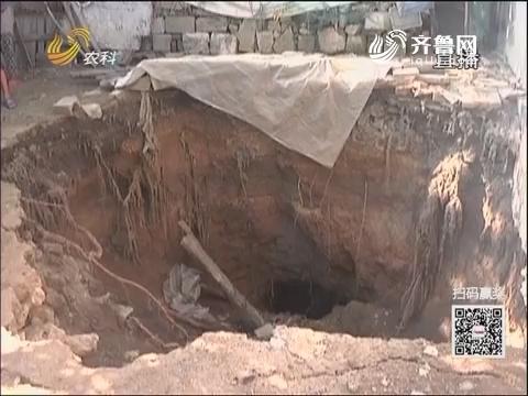 枣庄:村民后院突然消失 塌陷成大坑