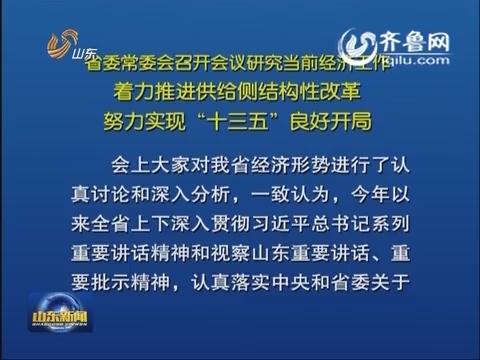 山东省委常委会召开会议研究当前经济工作