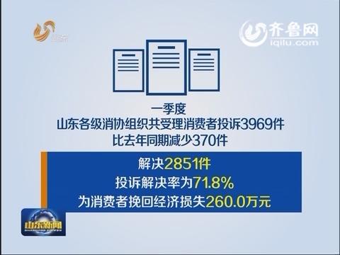 一季度山东消协受理消费者投诉3969件