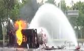 济南:罐车侧翻液化气失火 灭火30个小时危险消解