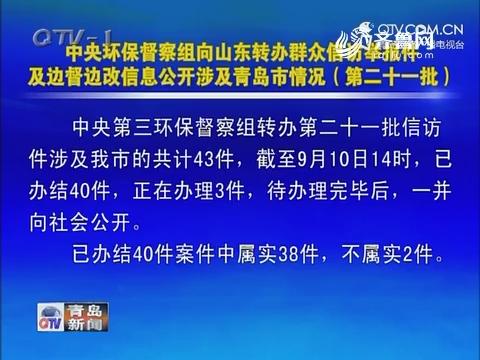 中央环保督察组向山东转办群众信访举报件及边督边改信息公开涉及青岛市情况(第二十一批)