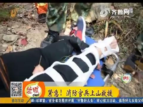 淄博:爬山赏红叶意外受伤 消防官兵上山救援