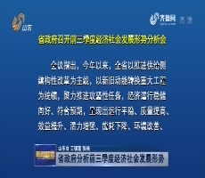 山东省政府分析前三季度经济社会发展形势