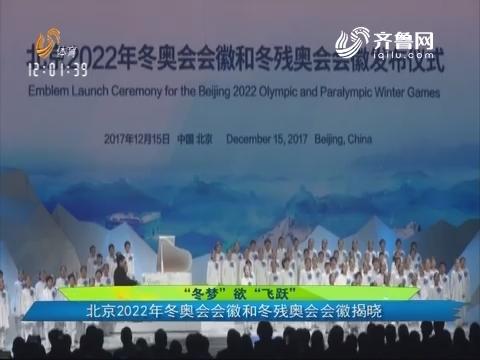 """""""冬梦""""欲""""飞跃"""" 北京2022年冬奥会会徽和冬残奥会会徽揭晓"""