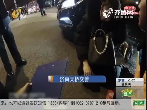 济南:惊险!平衡车撞上轿车