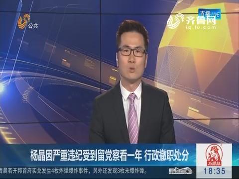 杨晶因严重违纪受到留党察看一年 行政撤职处分