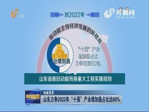 """【权威发布】山东力争2022年""""十强""""产业增加值占比达60%"""
