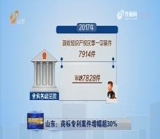山东:商标专利案件增幅超30%