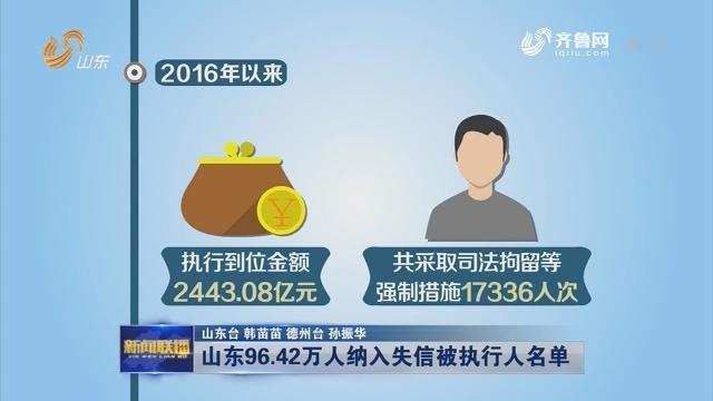 山东96.42万人纳入失信被执行人名单