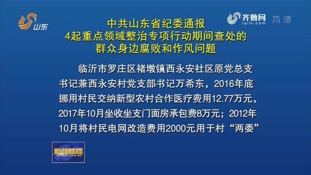 中共山东省纪委通报4起重点领域整治专项行动期间查处的群众身边腐败和作风问题